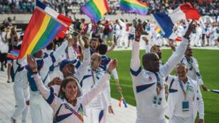 Les participants français lors de la cérémonie d'ouverture des Gay Games, le 4 août 2018.