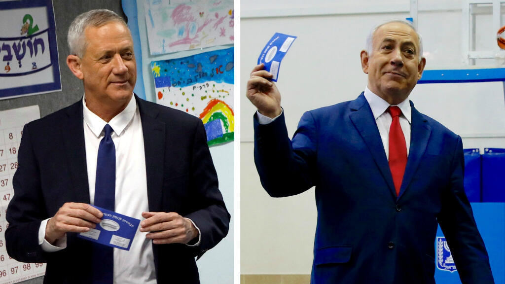 Una fotografía combinada Benny Gantz (izquierda), líder del partido Azul y Blanco y al primer ministro de Israel, Benjamin Netanyahu, durante las elecciones parlamentarias de Israel el 9 de abril de 2019.