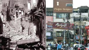 Photographies prises à 70 ans d'écart dans la ville indienne d'Amritsar, en août 1947 (à g.) et le 29 juin 2017 (à d.).