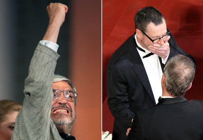 Maurice Pialat lève un poing rageur en 1987 et Lars von Trier sur le tapis rouge en 2011.