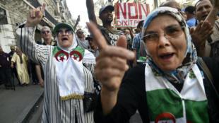 Des Algériennes durant la manifestation contre le pouvoir à Alger, le 11octobre2019.