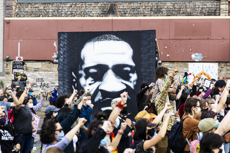 Demonstrators near the George Floyd Memorial in Minneapolis, Minnesota