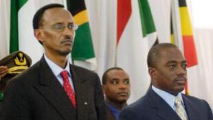 Le président rwandais Kagame et son homologue congolais Kabila