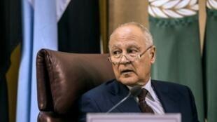 أبو الغيط أثناء اجتماع مجلس وزراي لجامعة الدول العربية في القاهرة، 27 تموز/يوليو 2017
