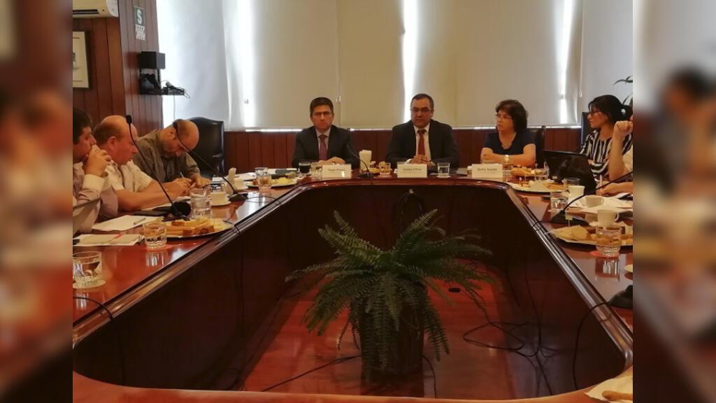Conferencia del Ministro de Economía, Carlos Oliva, con la prensa extranjera.