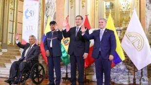 El presidente de Perú, Martín Vizcarra, junto al mandatario de Colombia, Iván Duque, en el Palacio de Gobierno en Lima, Perú, el 27 de mayo de 2019.