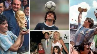 (Archivo) Combo de fotografías del astro argentino Diego Maradona, quien falleció el 25 de noviembre de 2020 en Buenos Aires a los 60 años