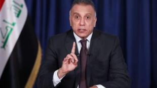 Capture d'écran d'un discours télévisé du nouveau Premier ministre irakien Moustafa al-Kazimi, alors tout juste désigné, le 9 avril 2020 à Bagdad