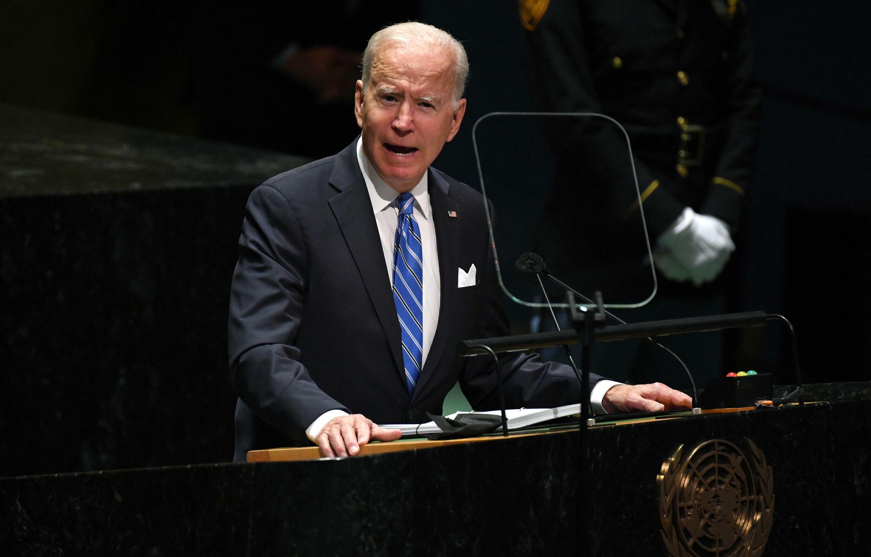 الرئيس الأميركي جو بايدن مخاطبا الجمعية العامة للأمم المتحدة في نيويورك في 21 أيلول/سبتمبر 2021