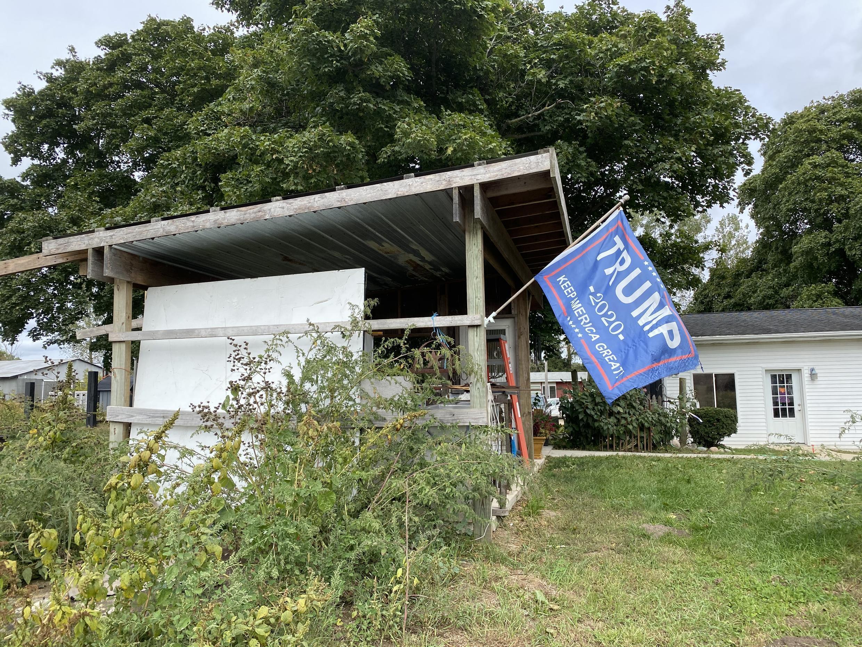 "A ""Trump 2020"" flag on Monte Bordner's farm."