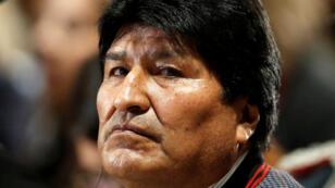 El presidente Evo Morales asiste a una conferencia en el Centro Cultural de la Fundación Stavros Niarchos, en Atenas, Grecia, el 14 de marzo de 2019.