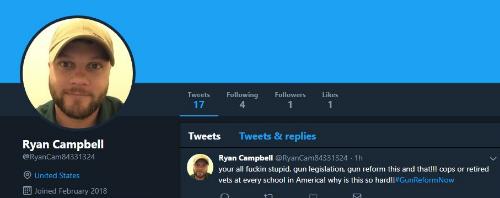 Un exemple de compte probablement automatisé : créé récemment, avec peu d'activité, mais très investi sur le hashtag #gunreformenow