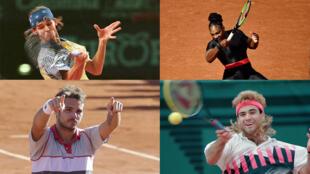 Gustavo Kuerten, Serena Williams, Stan Wawrinka y Andre Agassi en un montaje. AFP y Reuters.