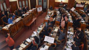 El pleno de la Cámara de Diputados de Bolivia cuando votaba la aprobación de la nueva Ley de Organizaciones Políticas de Bolivia. 25 de agosto de 2018.