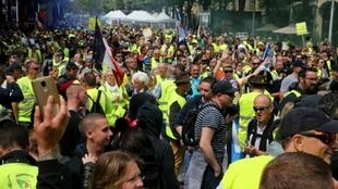 Reims, in the east of France, was one of several cities where people turned out to protest