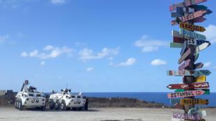 دورية تابعة لقوة الامم المتحدة في لبنان، في منطقة الناقورة على الحدود مع اسرائيل في 11 تشرين الاول/اكتوبر 2020.