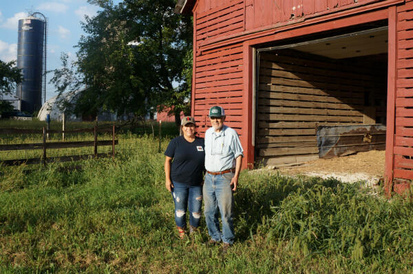 Nicole and Leon Issert at their farm in Peotone, Illinois