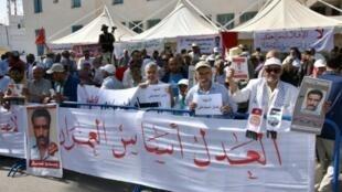 مظاهرة تم تنظيمها في 29 أيار/مايو 2018 في قابس جنوب تونس خلال جلسة محاكمة في قضية تعذيب حتى الموت في السجن