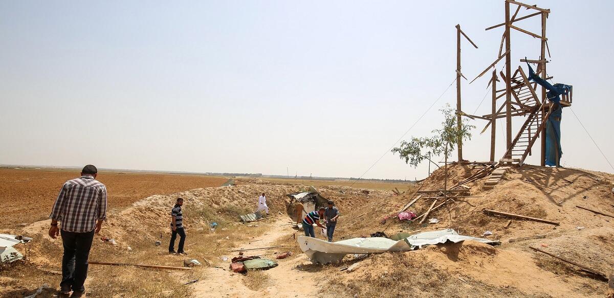 Un poste d'observation du Jihad islamique touché par l'armée israélienne à Rafah, dans le sud de la bande de Gaza, le 27 Mai 2018