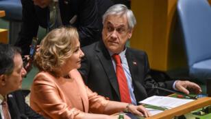 El presidente de Chile, Sebastián Piñera, con la primera dama Cecilia Morel Montes, antes de pronunciar un discurso en las Naciones Unidas el 27 de septiembre de 2018 en la ciudad de Nueva York.