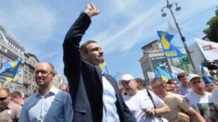 Vitali Klitschko pendant un meeting de l'opposition, à Kiev, en mai 2013