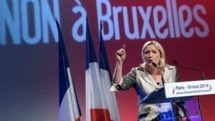 Marine Le Pen pendant un meeting électoral lors de la campagne pour les élections européennes.