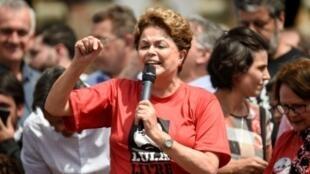 La expresidenta de Brasil Dilma Rousseff, durante un acto de campaña del PT, el 21 de septiembre de 2018 en Ouro Preto
