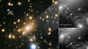 """La imagen del telescopio espacial Hubble de la NASA muestra una estrella supergigante azul nombrada """"Ícaro"""", la estrella más lejana jamás vista. A la derecha se muestra la vista en 2011, sin Ícaro visible, en comparación con la estrella actual."""