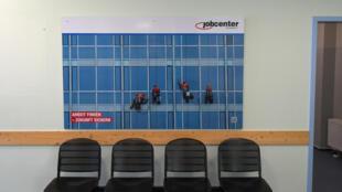 La sala de espera de una oficina de empleo en la ciudad de Dusseldorf, el 25 de agosto de 2017 al oeste de Alemania, país en que el desempleo aumentó al 3,5% en marzo de 2020