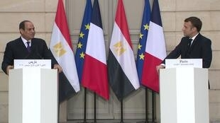 French President Emmanuel Macron and Egyptian President Abdel Fattah al-Sisi held a joint press conference in Paris on December 7, 2020.