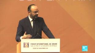 Le Premier ministre Édouard Philippe au Forum international de Dakar sur la paix et la sécurité le 18 novembre 2019.