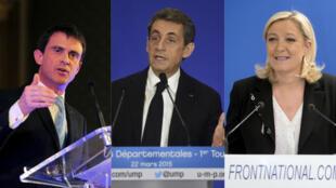 Manuel Valls, Nicolas Sarkozy et Marine Le Pen ont tous les trois fait campagne sans ménagement durant l'entre-deux-tours des élections départementales.