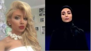 """La mannequin iranienne Elham Arab (non voilée et maquillée à gauche, voilée à droite) fait partie des huit Iraniens interpellés en mars pour propagation de culture """"immorale""""."""