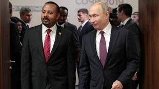 Russian President Vladimir Putin and Ethiopian Prime Minister Abiy Ahmed meet on the sidelines of the Russia-Africa Summit and Economic Forum in Sochi, Russia October 23, 2019.