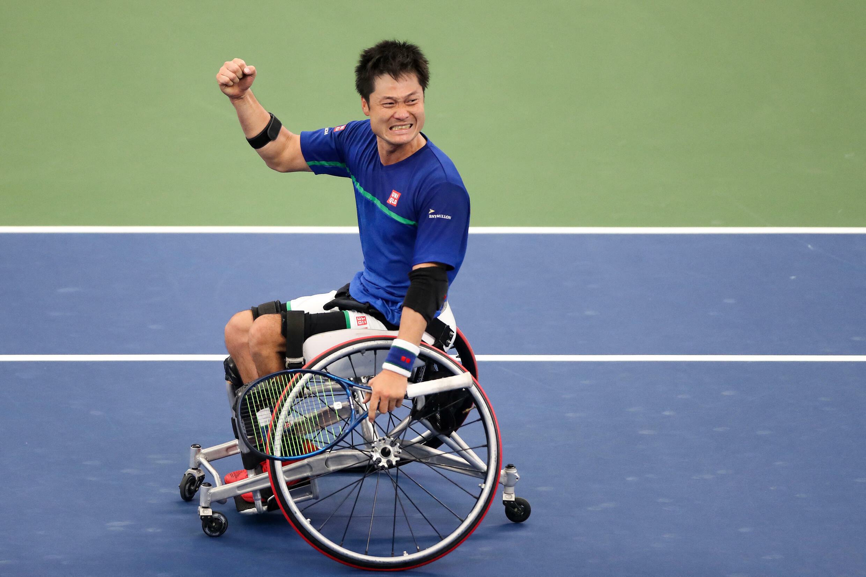 Shingo Kunieda célèbre sa victoire lors de l'US Open, le 13 septembre 2020.