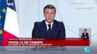 2020-10-28 20:10 Covid-19 : Emmanuel Macron annonce un reconfinement national dès vendredi, sauf en Outre-Mer