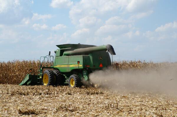 Dave Kestel harvests corn at his Illinois farm. Kestel says he still supports Trump, despite the tariffs.