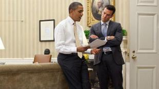Barack Obama et Jon Favreau à la Maison Blanche