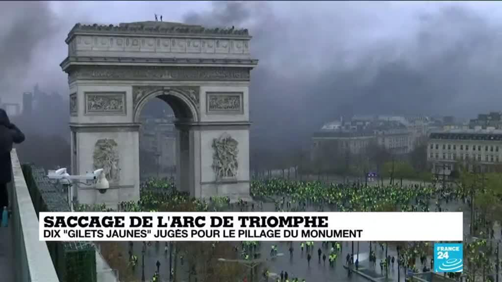 """2021-03-22 17:09 Saccage de l'Arc de Triomphe : dix """"gilets jaunes"""" jugés pour le pillage du monument"""