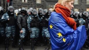Manifestante pro-européenne, le 25 novembre, à Kiev.