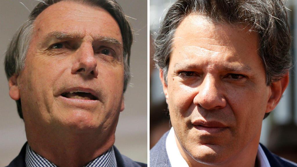 Una combinación de fotos de archivo muestra a los candidatos presidenciales Jair Bolsonaro en Brasilia, Brasil, el 4 de septiembre de 2018 y A Fernando Haddad en Curitiba, Brasil, el 24 de septiembre de 2018.