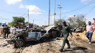 The scene of Saturday's deadly car bomb explosion in Mogadishu, which experts say bears all the hallmarks of an al Shabaab attack.