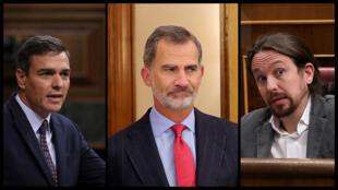 El rey de España, Felipe VI (centro) convocó a consultas a los líderes de los partidos políticos.