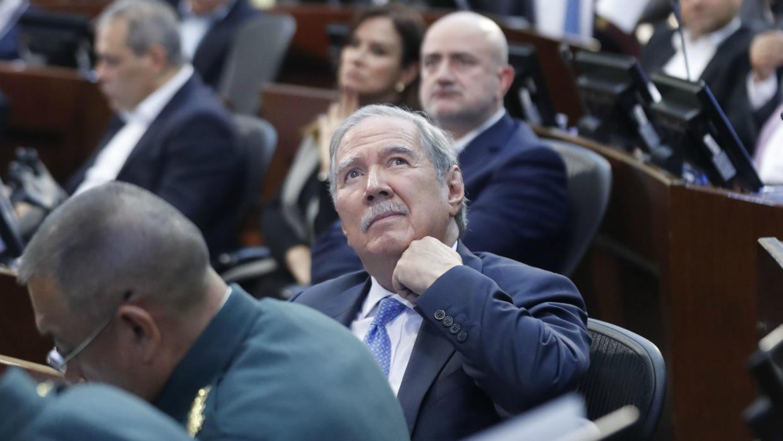 El ministro de Defensa colombiano, Guillermo Botero, en una audiencia en el Senado donde se debatió una moción de censura en su contra. Bogotá, Colombia, el 5 de noviembre de 2019.