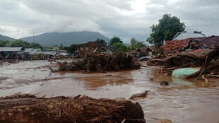Damaged houses due to flash floods in East Flores, East Nusa Tenggara province, Indonesia April 4, 2021.