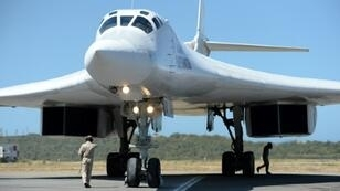 A Russian Tupolev Tu-160 strategic long-range heavy supersonic bomber aircraft after landing at Maiquetia International Airport, just north of Caracas
