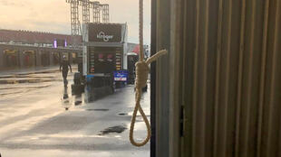 A noose found in the Number 43 garage stall, assigned to driver Bubba Wallace, at Talladega Superspeedway in Talladega, Alabama, U.S. June 21, 2020 is seen in a photograph released by NASCAR on June 25, 2020.