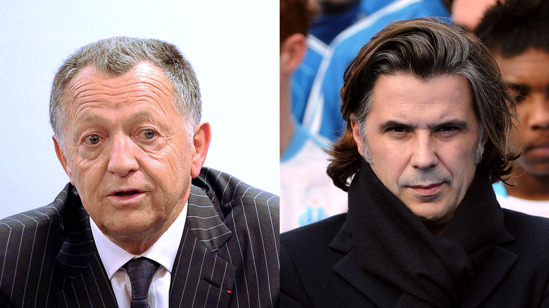 Le président de l'Olympique lyonnais, Jean-Michel Aulas (à gauche) et celui de l'Olympique de Marseille, Vincent Labrune, se livrent une guerre par médias interposés.