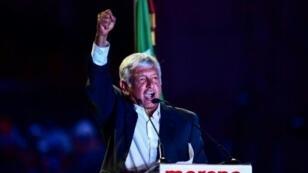 مرشح اليسار للانتخابات الرئاسية في المكسيك اندريس مانويل لوبيز أوبرادور في مكسيكو في 27 حزيران/يونيو 2018