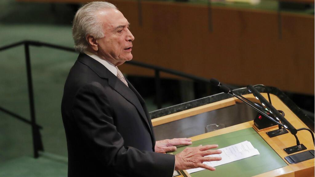 El presidente de Brasil, Michel Temer, se dirige a la 73ª sesión de la Asamblea General de las Naciones Unidas en la sede de la ONU en Nueva York, EE. UU., el 25 de septiembre de 2018.